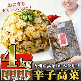 【ふるさと納税】九州産辛子高菜セット4kg(1kg×4パック)ピリッと辛い風味豊かな高菜炒めはチャーハン・ラーメン・おにぎり等と相性抜群【九州新進】