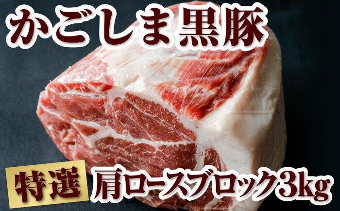 【ふるさと納税】豪快!鹿児島県産黒豚肩ロースブロック肉 約3kg【財宝】