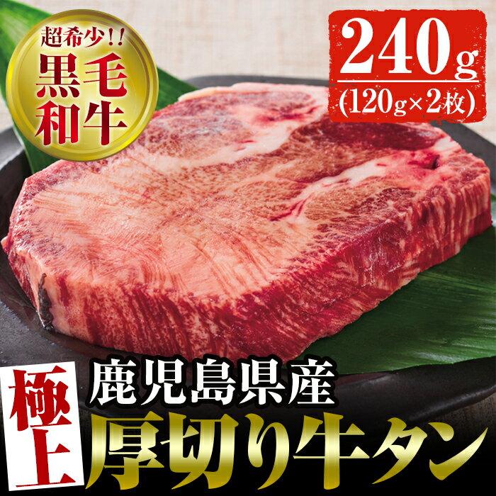 【ふるさと納税】超稀少!黒毛和牛の厚切り牛たん (120g×2枚)極厚!国産の厳選した牛タン!【財宝】