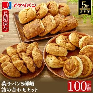 【ふるさと納税】《定期便5回》イケダパンのロングライフパン詰め合わせセット計100個(5種、各4個入計20個を5回お届け)クロワッサン・デニッシュあんパン・デニッシュクリームパン・ショ