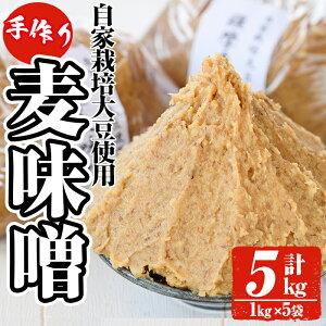 【ふるさと納税】手作り麦味噌計5kg(1kg×5袋)!厳選した天然粗塩、自家製大豆を使用!昔ながらの手法でこうじを寝かせて作った無添加麦みそ5kgセット【ほかむら】