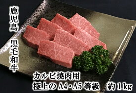 【ふるさと納税】鹿児島県産黒毛和牛カルビ焼肉用 極上のA4・A5等級1kg