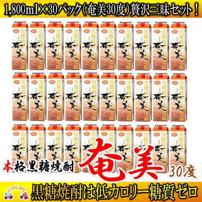 【ふるさと納税】奄黒糖焼酎「奄美(30度)」1,800mlパック(30本セット)