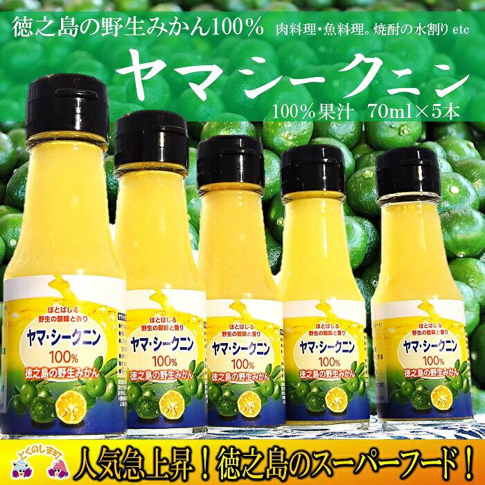 【ふるさと納税】〜野生のみかんの味〜徳之島のヤマ・シークニン果汁(70ml×5本)