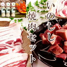 【鹿児島徳之島】イノシシ焼肉用1kg&パパイヤスパイス3種セット