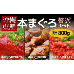 【ふるさと納税】沖縄県産 贅沢本マグロの切り落とし・ネギトロ・串セット 計800g