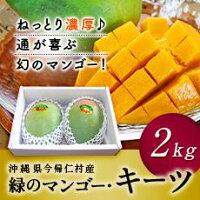 【ふるさと納税】【期間限定】緑のマンゴー「キーツ」(2キロ、2〜3玉)