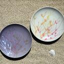 【ふるさと納税】沖縄の海を『ぎゅっ』と閉じ込めた珊瑚プレート 取り皿 2枚 白色×薄紫色