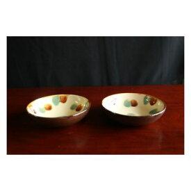 【ふるさと納税】【仲間陶房】5寸浅鉢(三彩)ペアセット