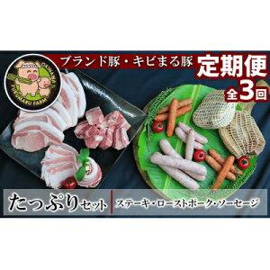【ふるさと納税】【2ヶ月に1度の定期便:全3回】ブランド豚・キビまる豚 ステーキ&ローストポーク&ソーセージのたっぷりセット