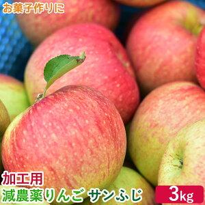 減農薬 りんご 訳あり サンふじ 約3キロ 葉とらず 長野産 加工用 3kg 6〜17玉 ジャム1個を同梱サービス付 リンゴ さんふじ サンフジ 産地直送 被災地農家応援 S10