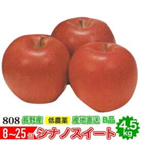 【10月出荷予約】減農薬 シナノスイート りんご B品 約4.5kg 8〜25個入 長野産リンゴ 林檎 産地直送 小山 SSS 10g