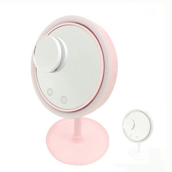 メイクアップミラー ファン LEDライト 拡大鏡付き かがみ カガミ スタンドタイプ 卓上ミラー 拡大鏡 女優ミラー おしゃれ 置き鏡 化粧鏡 立て鏡