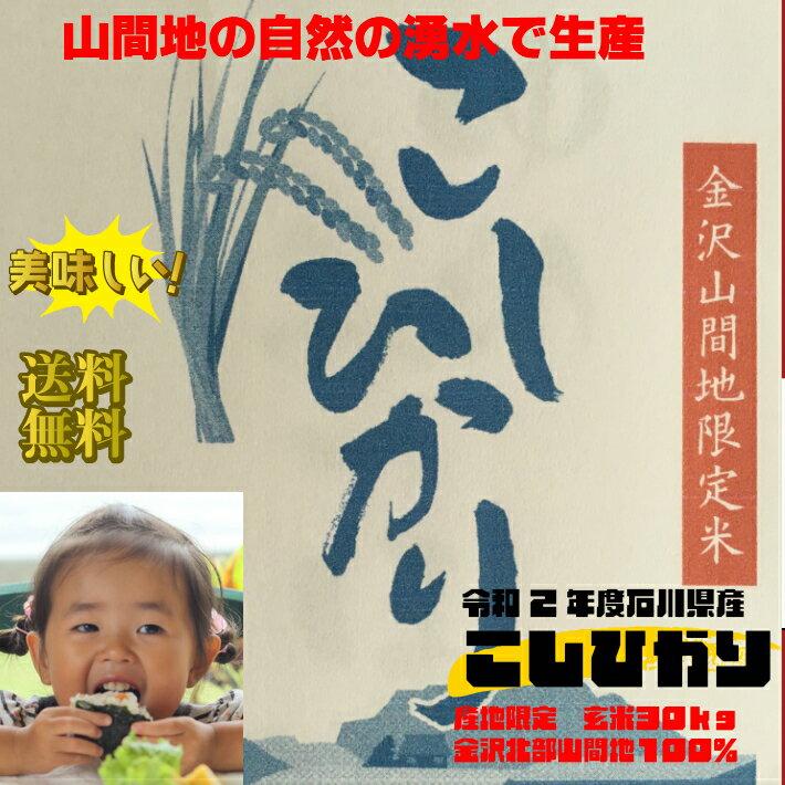 【送料無料】30年度石川産こしひかり玄米30kg  金沢北部山間地限定