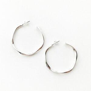 【PHILIPPE AUDIBERT/フィリップオーディベール】Charlee earring M brass silver color,フープ ピアス イヤリング ベーシック シルバー オシャレ 人気 シンプル ジュエリー アクセサリー ブランド
