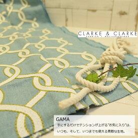 イギリス輸入生地商品名:GAMA/aquaブランド名:CLARKE&CLARKE(クラーク&クラーク)*ハーフカット(約65cm巾)*50cm以上10cm単位*幾何学柄 マリン 綿 ナチュラル カルトナージュ 生地