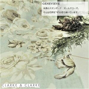 イギリス バラ柄商品名:GENEVIEVE/mineral ブランド名:CLARKE&CLARKE(クラーク&クラーク)*50cm以上10cm単位*輸入生地 綿100% カルトナージュ 布 大柄 花柄 ブルー 水色 カントリー