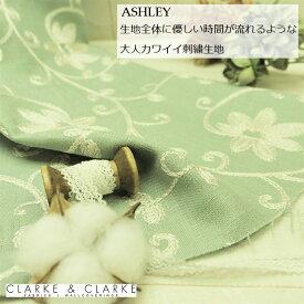 イギリス 刺繍 花柄商品名:ASHLEY/duckeggブランド名:CLARKE&CLARKE(クラーク&クラーク)*50cm以上10cm単位/カルトナージュ 生地 布 リネン カントリー グリーンブルー 刺繍 トートバッグ エコバッグ かわいい 人気 カット売り