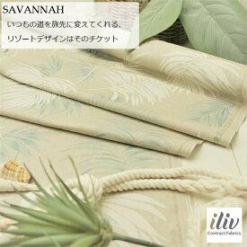 イギリス 輸入生地生地名:SAVANNAH/celadonブランド名:iliv(アイリブ)*50cm以上10cm単位*リゾート・トロピカル・モンステラ・ハンドメイド・生地・布・