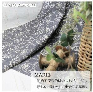 イギリス 花柄商品名:MALIE/charcoalブランド名:CLARKE&CLARKE(クラーク&クラーク)*50cm以上10cm単位輸入生地 黒 チャコール カルトナージュ 麻 リネン 生地 布 マスク トートバ