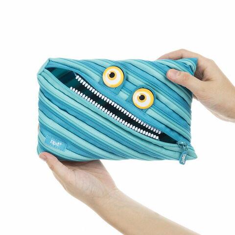 【Zipit】 ワイルドリングモンスター ジャンボポーチ monster pouch ブルー(青) pencase 筆箱 ふでばこ ペンケース ポーチzip-027
