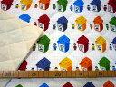 【キルト】★50cm単位続けてカット★白地に並んだブロックBOX レゴ風柄 ブロックボックス