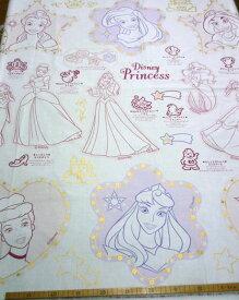 ★約1mパネル単位続けてカット★ プリンセス ぬりえパネル シーチング Disney PRINCESS【DEAL】