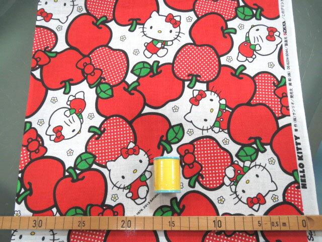 ★50cm単位で続けてカット★特岡 kohabanunoてぬぐい 34cm幅 キティ りんご柄【DEAL】