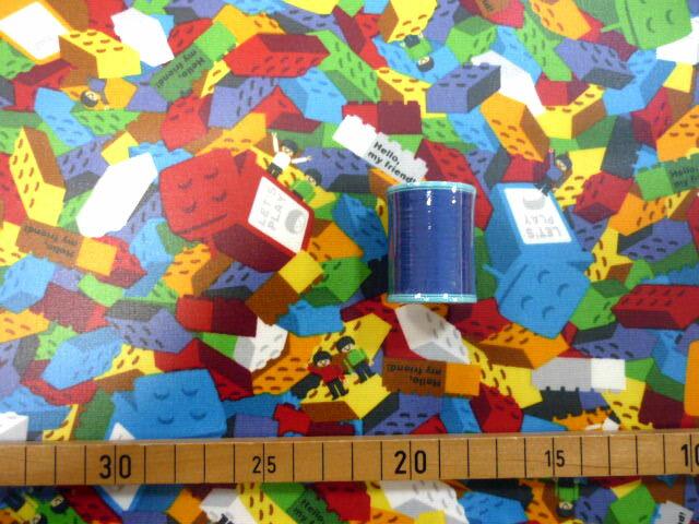 【ラミネート】★50cm単位続けてカット★カラフルブロックがいっぱいレゴ風柄