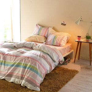 【Fab the Home】サンシャワー/スウィート 布団カバーセット枕カバーM 1枚+掛け布団カバーS 1枚 先染ドビー織
