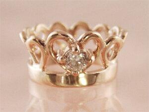 刻印できるティアラベビーリングK18ピンクゴールド【ダイヤモンド】【ペンダントヘッド】出産記念 誕生祝い 出産祝い