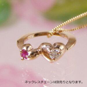 刻印できるダブルハートベビーリング K18ピンクゴールド 宝石2個タイプ 送料無料 刻印無料※ネックレスチェーン別売り出産記念 誕生祝い 出産祝い