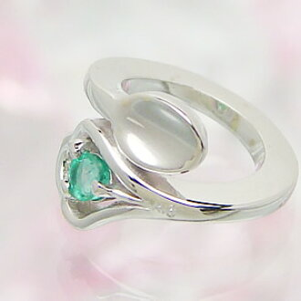 Design baby ring K18 white gold emerald carved seal free of charge delivery memory birthday baby gift First Mother's Day of the spoon which can carve a seal