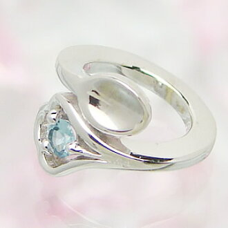 Design baby ring K18 white gold blue topaz carved seal free of charge delivery memory birthday baby gift First Mother's Day of the spoon which can carve a seal