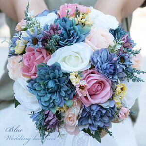 ウエディングブーケ ブートニア 結婚式 ラウンド型ブーケ 造花 ウェディング用 アレンジメント 花嫁 披露宴 森ガール バラ ボタン