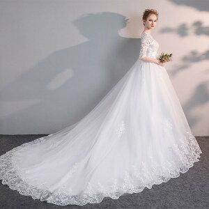 ウェディグドレス 大きいサイズ マタニティドレス 花嫁 二次会 カジュアル 結婚式 ブライダ 白 海外挙式 トレーンドレス