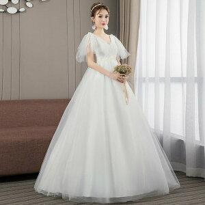 シンプルでかわいい ウェディグドレス マタニティドレス 二次会 ワンピース 海外挙式 トレーン カジュアル リゾート結婚式