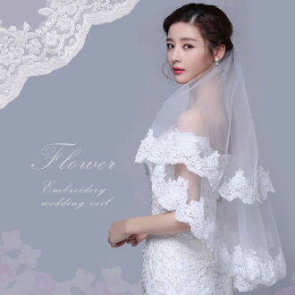 6 size v-f010-a1-105 which can choose the size with the metal comb which there is luxurious wide race wedding short veil translucency, and soft Tulle face up veil white / off-white remains in well