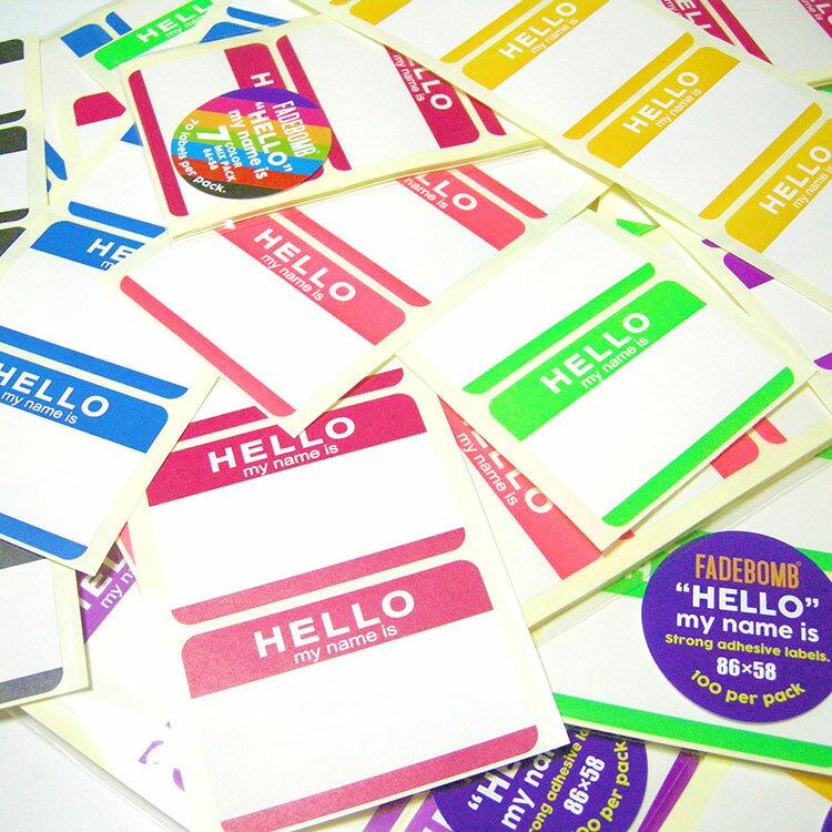 【7色70枚セット】FADEBOMB-7Color-Hello Name Badge Label『HELLO my name is』名札ラベル宛名シール【メール便OK】