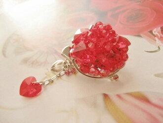 ★包免费★漂亮的CrystalFairyFlower胸针粉红嘴唇围巾围巾结论(红)