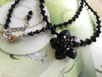 ★包免费★猫Point Of Sales★Crystal Fairy Flower项链~黑~层次线