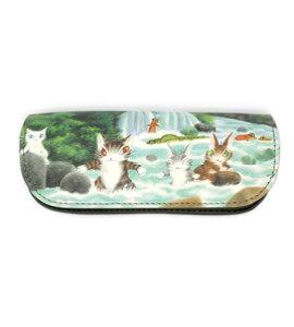 アートめがねケース 川であそぼう | わちふぃーるど 猫のダヤン ダヤン ネコグッズ 革小物 本革 牛革 眼鏡 メガネ ケース