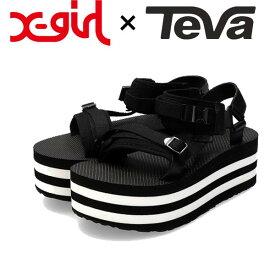 エックスガール X-GIRL X-girl × TEVA FLATFORM LUXE ELEVATED テバ コラボ フラットフォーム 厚底 サンダル ダット スポサン 靴 ブランド レディース
