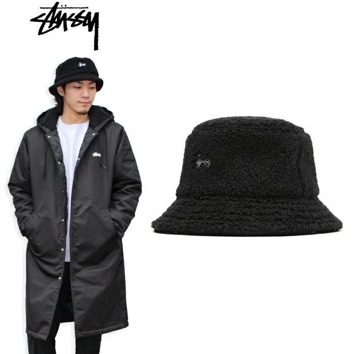 "【STUSSY】ステューシー/""SHERPA FLEECE BUCKET HAT"" 132908 バケットハット メトロハット フリース ボア ロゴ 刺繍 長袖 メンズ レディース 帽子 (BLACK)"