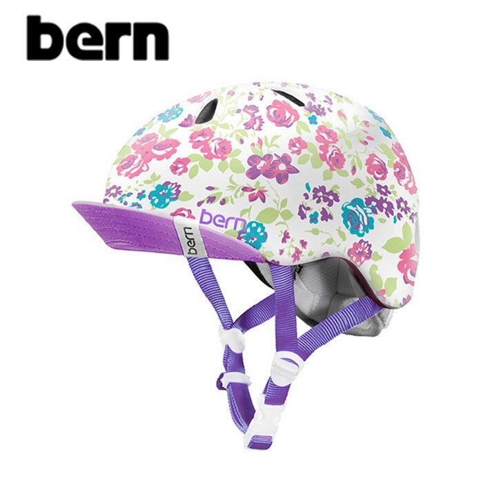 """【BERN】バーン/""""NINA""""ニーナ ガールズ キッズ 自転車用 ヘルメット クロスバイク マウテンバイク BMX スケートボード ストリート アウトドア【キッズ】(SATIN WHITE FLORAL)"""