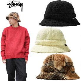 "【STUSSY】ステューシー/""SHERPA FLEECE BELL BUCKET HAT"" 132993 シェルパ フリース ベル バケットハット メトロハット ロゴ メンズ レディース 帽子"