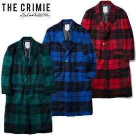 """【CRIMIE】クライミー/""""WOOL CHECK CHESTER COAT"""" CR01-01K5-JK05 ウール チェスターコート ロングコート メルトン チェック柄 長袖 メンズ レディース アウター"""