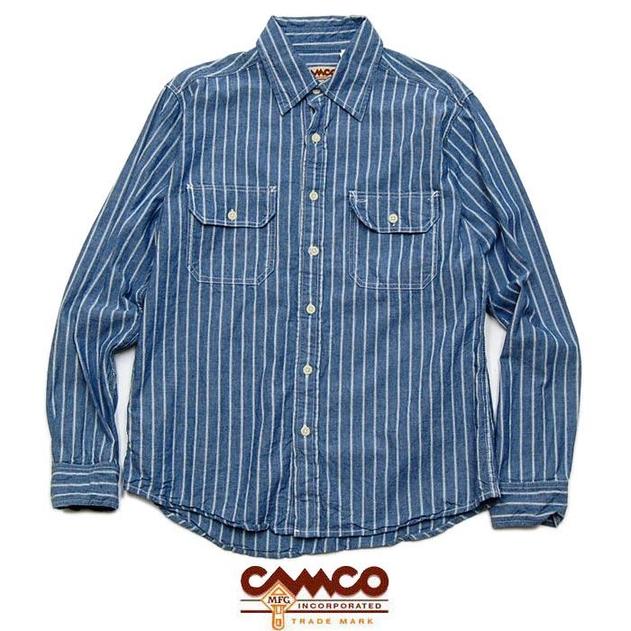 """【CAMCO】カムコ / """"CHAMBRAY SHIRTS L/S"""" シャンブレーシャツ ストライプシャツ ワークシャツ フラップポケット【メンズ】【レディース】【トップス】(BLUE STRIPE)"""