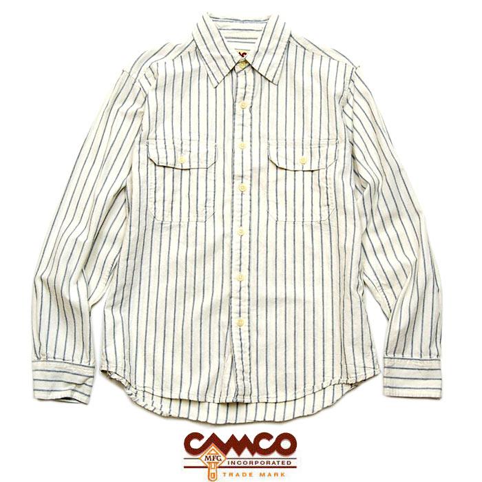 "【CAMCO】カムコ / ""CHAMBRAY SHIRTS L/S"" シャンブレーシャツ ストライプシャツ ワークシャツ フラップポケット【メンズ】【レディース】【トップス】(NATURAL STRIPE)"