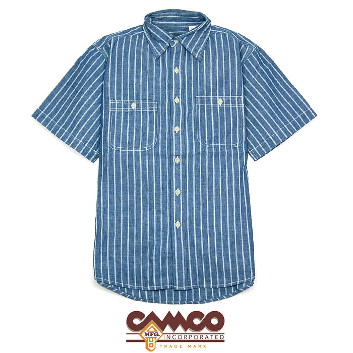 """【CAMCO】 カムコ/""""CHAMBRAY SHIRTS S/S""""シャンブレーシャツ ストライプシャツ 半袖 【メンズ】【レディース】【トップス】(BLUE STRIPE)"""